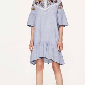 Zara Basic Striped Embroided BOHO Dress SZ S